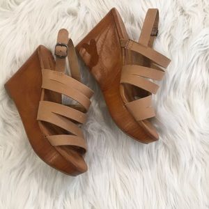 Tan Lucky Brand Wedge Sandals